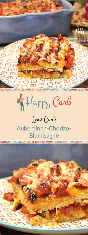 Chorizo oder Manchego. Egal. Hauptsache italienisch. Leckere Blumenkohl-Lasagne, die keine Wünsche offen lässt.  Low Carb Rezepte von Happy Carb. https://happycarb.de/rezepte/fleisch/auberginen-chorizo-blumisagne/