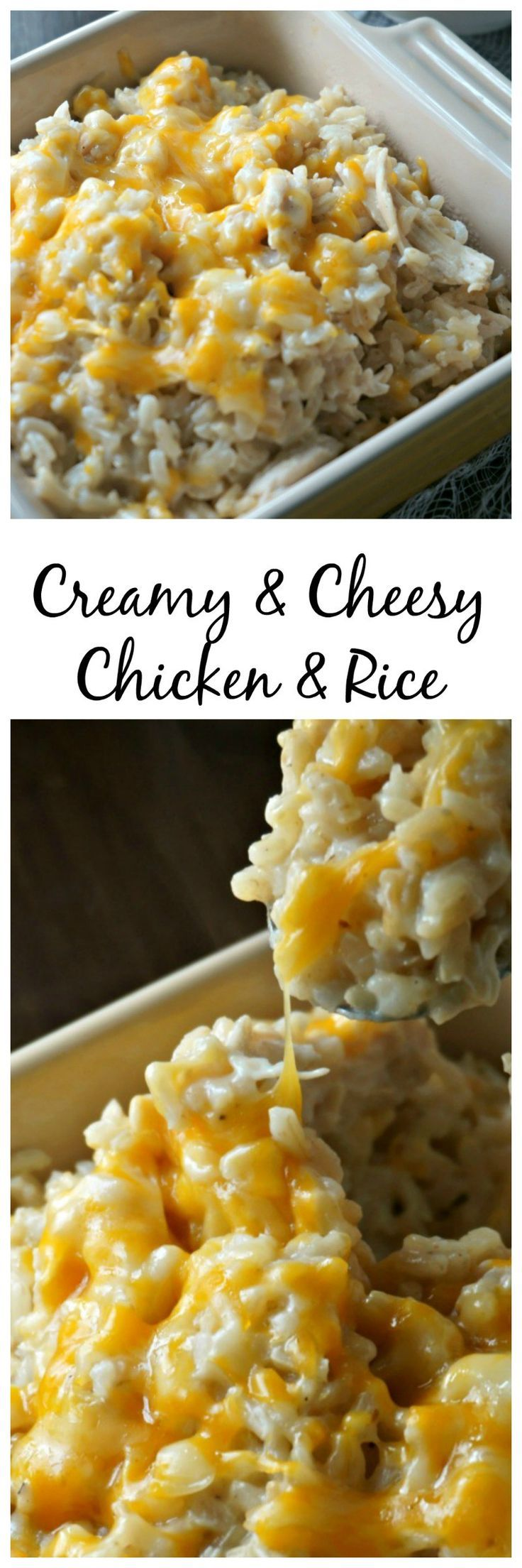 Creamy and Cheesy Chicken and Rice: brown rice, cooked chicken, and lots of cheese all swimming in a decadent, yet healthy cream sauce. This is a dish that everyone loves. (Bake Shrimp Rice)