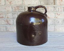 Antique Red Wing pottery brown gallon wine jug Minnesota made vintage stoneware home decor