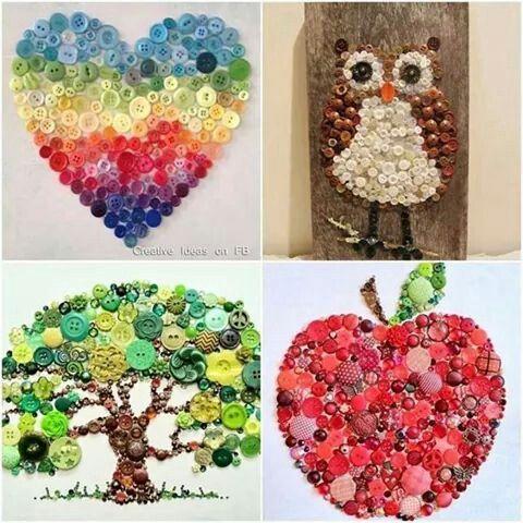 Knopfbilder: Herz, Baum, Eule, Apfel
