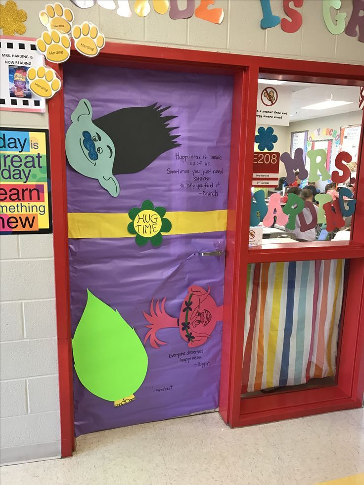 Trolls theme classroom door decor