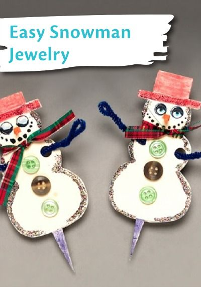 See how to make this cute and easy snowman jewelry for How to make winter crafts