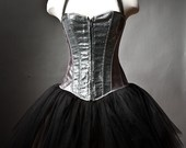 Custom Size Burlesque corset dress, costume, halloween, las vegas showgirl black and pink. $199.00, via Etsy.