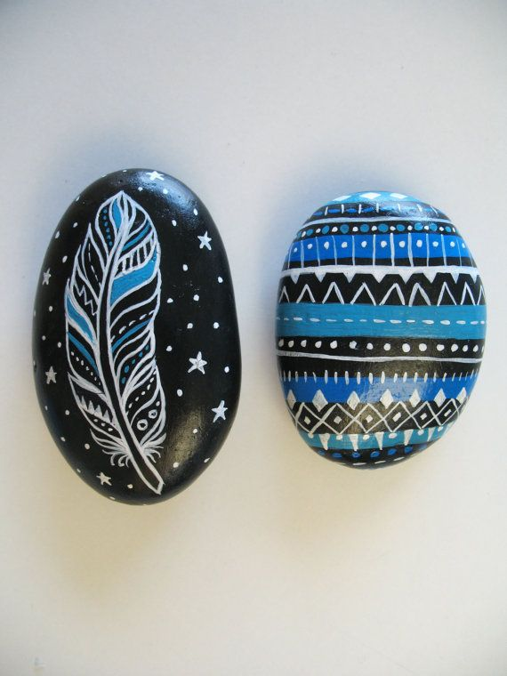 Painted Stones Collection, Feather And Pattern Designs, Beach Art, Original Painting Rock Art, OOAK, Tribal Pattern, Boho Beach Art