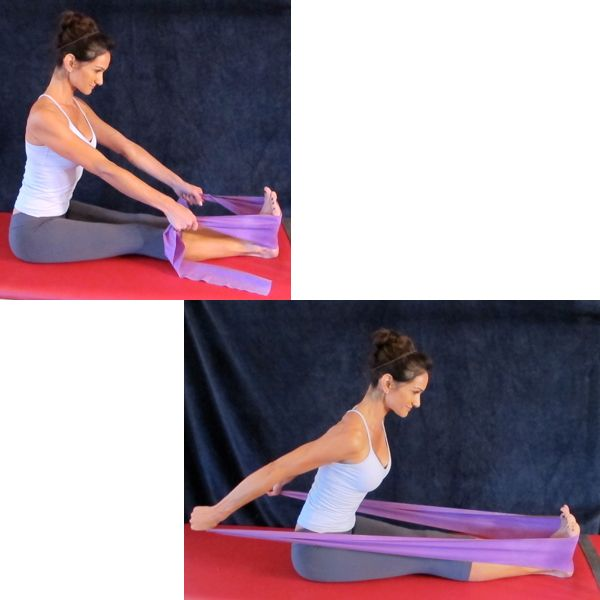 Use this triceps press with resistance band exercise to tone the backs of your arms as well as your core.