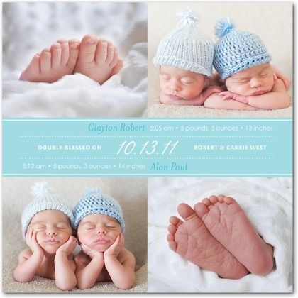 Baby toes! A Tiny Prints photo birth announcement for twins.
