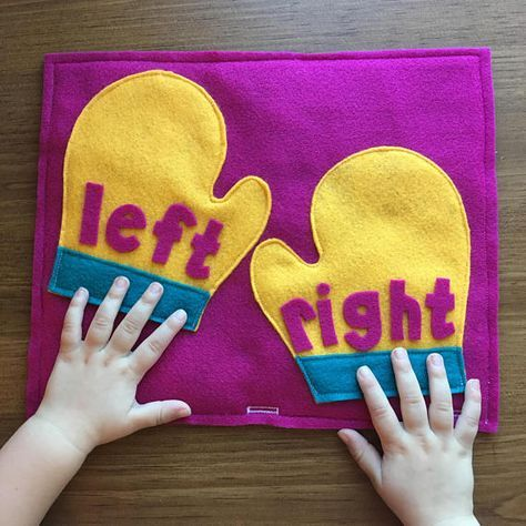 Left & Right Mittens Quiet Book Page; Educational Toys, Toddler Games, Early Learning, Busy Books Pages, Preschool, Left and Right Hands