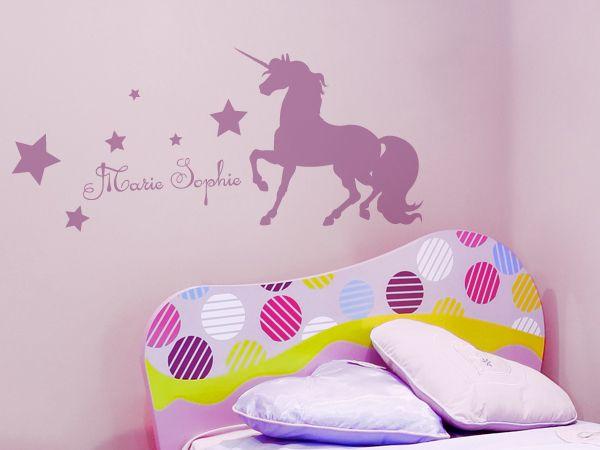 Zauberhaftes Einhorn fürs Kinderzimmer. Idividualisierbar mit dem Namen Ihres Kindes