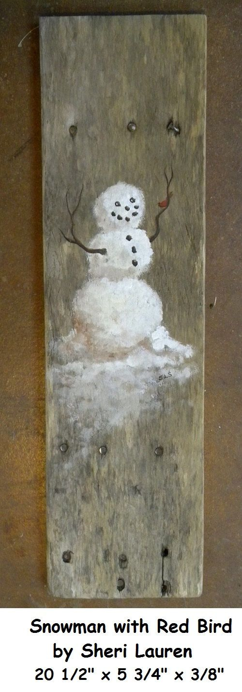 Hand painted Whimsical Snowman with little Red by SchmaviesRefound