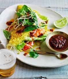 Vietnamese Pancakes with Prawns & Pickled Carrot