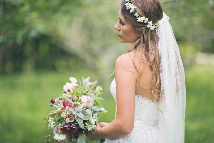 Flower Crown Half Up Half Down With Veil Wedding