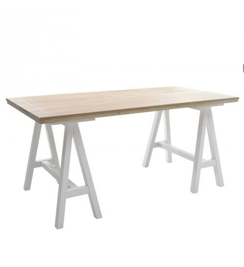 WOODEN TABLE IN BEIGE COLOR W_WHITE LEGS 160X80X75