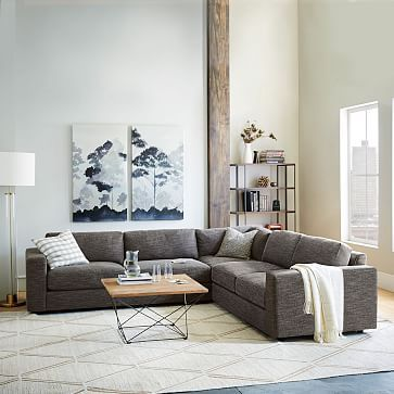 Urban 3-Piece Sectional, Charcoal (Heathered Tweed) #westelm Love the carpet
