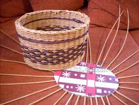 мк по плетению крышки для корзинки с картонным дном