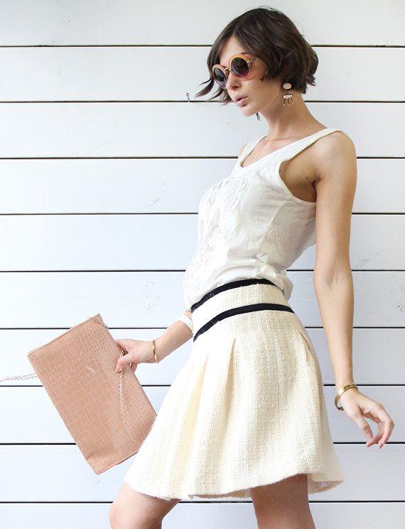 BENETTON vintage cream white wool tweed black velvet stripe pleated mini skirt S M
