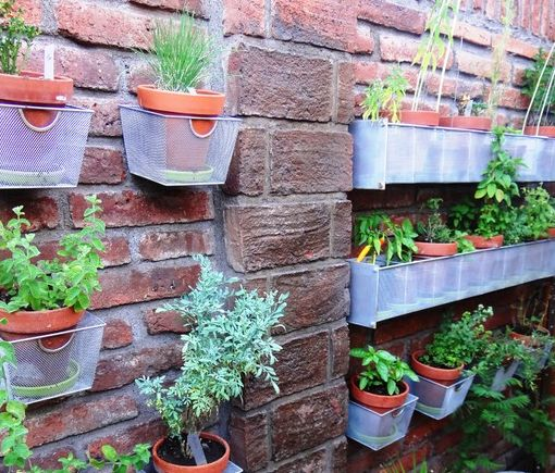 Recycled Basket Planters   Old CD Baskets Make A Perfect Container Herb  Garden. Great Idea