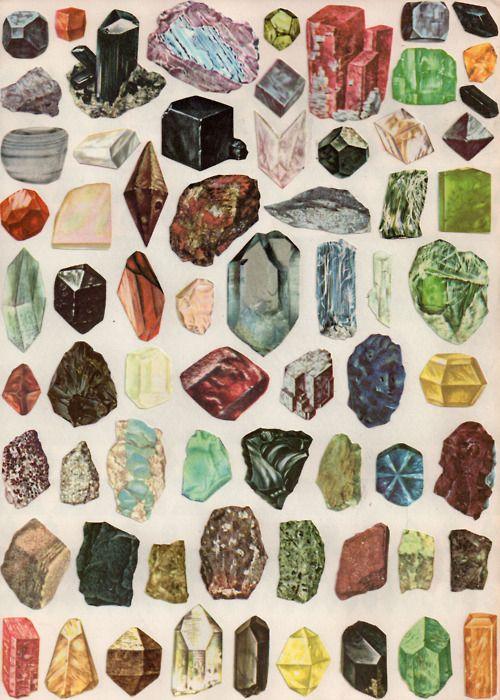 coleção de pedras e gemas