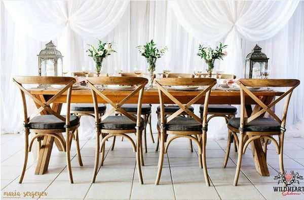 Head Table inspiration.  Use a harvest table as your head table to create interest and a focal point to the room.  Little Wee Prop Shop
