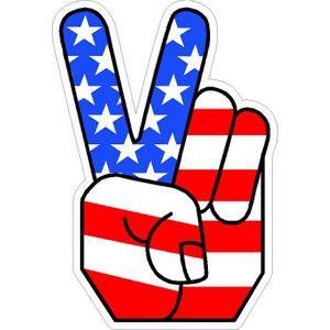 American Flag Peace Sign Hand - Vinyl Sticker