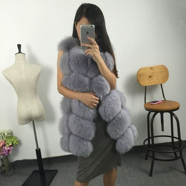 hot new 2015 100% natural fox fur long vest with all real photos 16 colors in stock Price on the app: US $268.41 US $272.30 /piece click the link to buy http://goo.gl/YJxPC6