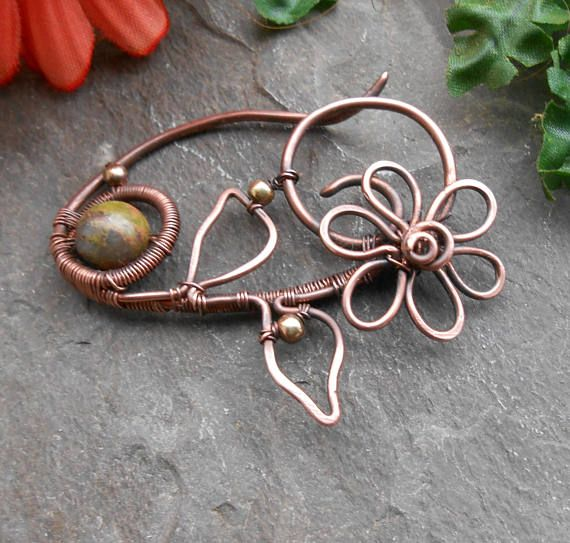 Cute little flower brooch with stone copper Safety pin brooch