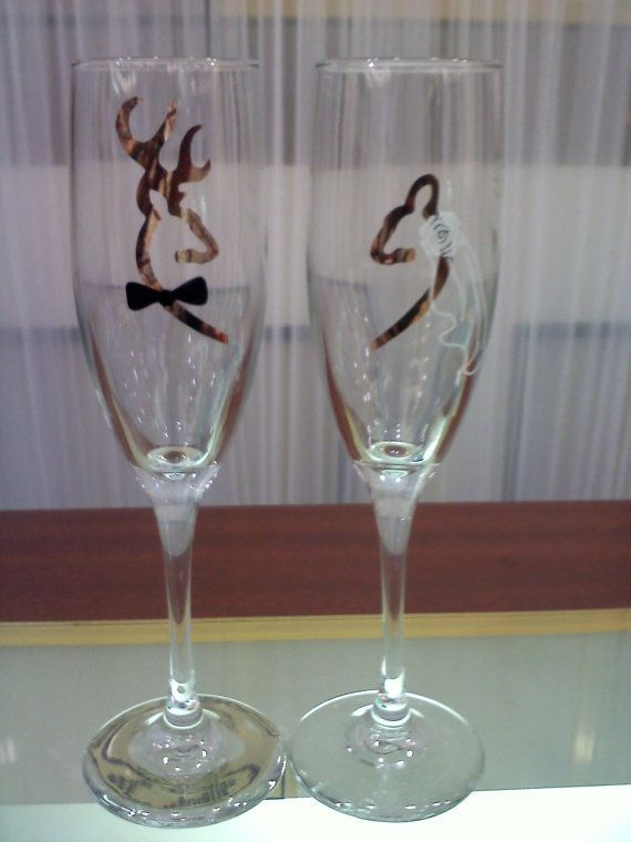 ♡ #Hunting / camo themed #wedding #TOASTING GLASSES ♡ For how to organise an entire wedding, within any budget PLUS lots of budget tips and other wedding ideas https://itunes.apple.com/us/app/the-gold-wedding-planner/id498112599?ls=1=8 ♥ THE GOLD WEDDING PLANNER iPhone App ♥  Weddings by Style http://pinterest.com/groomsandbrides/boards/