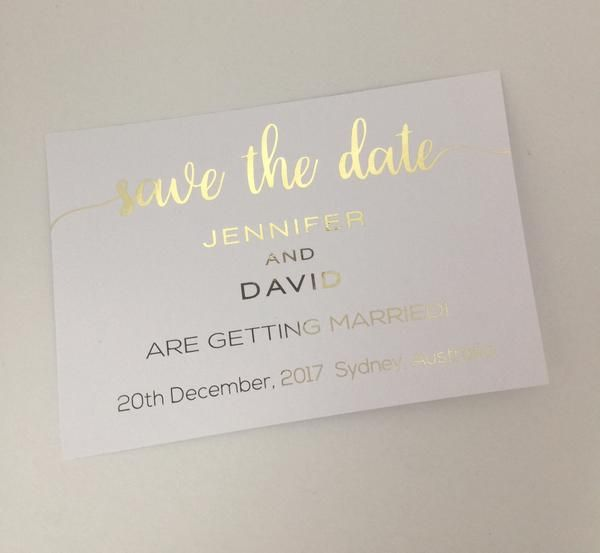 Foiled Wedding Save the Date Invitation – Glitzy Prints