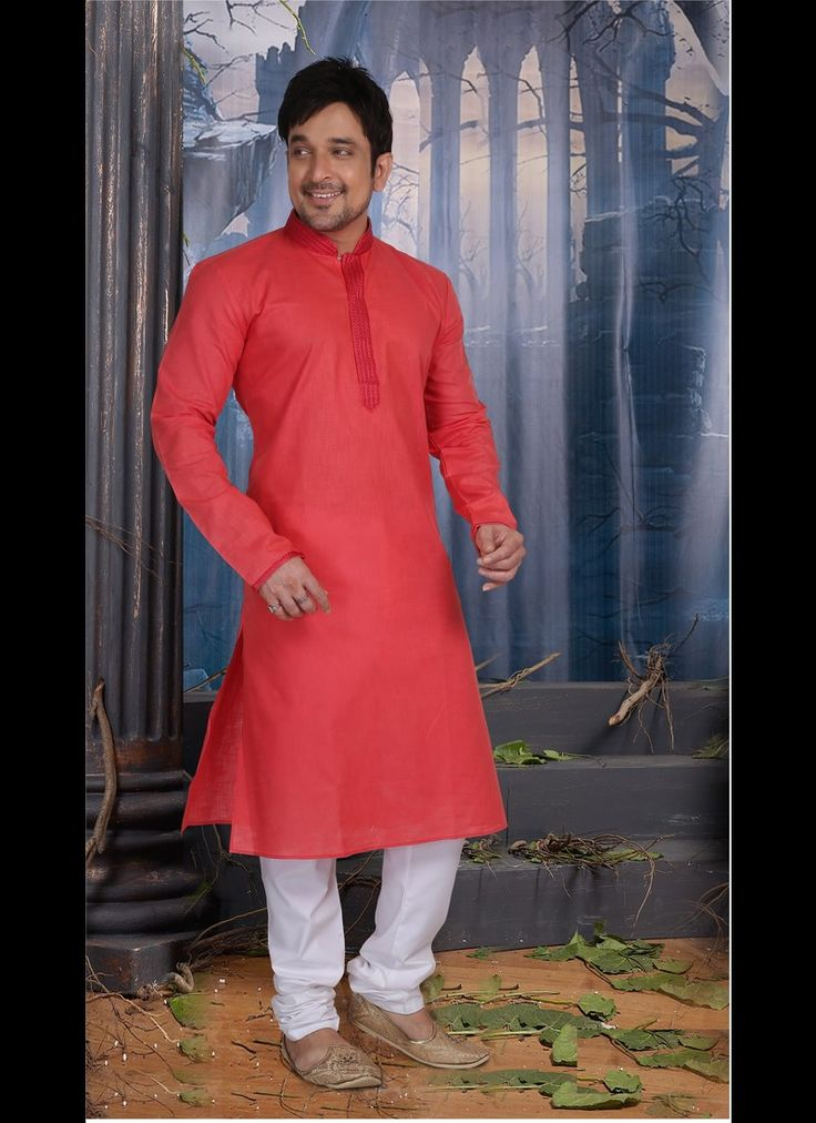 RED COLOR POLY COTTON READY MADE KURTA SET