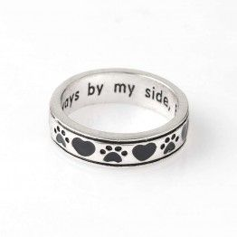 "Dog Pawprint Pet Memorial Ring Engraved ""Always by my side,Forever in my heart"" Dog Lover Gift"