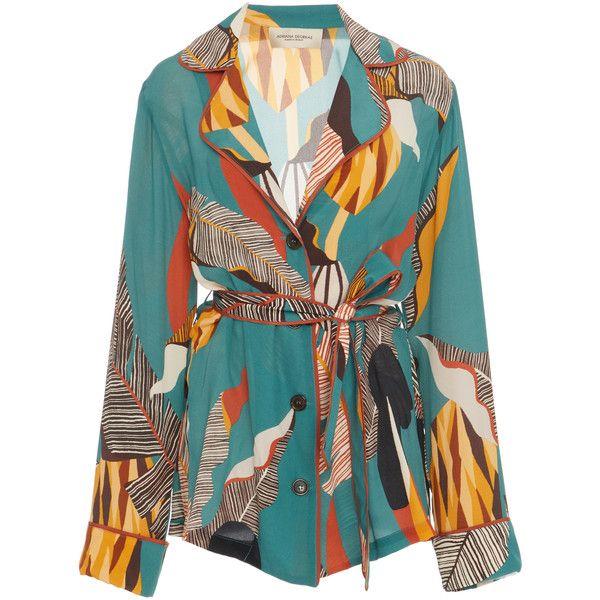 Adriana Degreas Bahiana Printed Silk Pajama Set ($1,320) ❤ liked on Polyvore featuring intimates, sleepwear, pajamas, multi, silk sleep wear, silk pyjamas, silk pajama sets, long sleeve pjs and silk sleepwear
