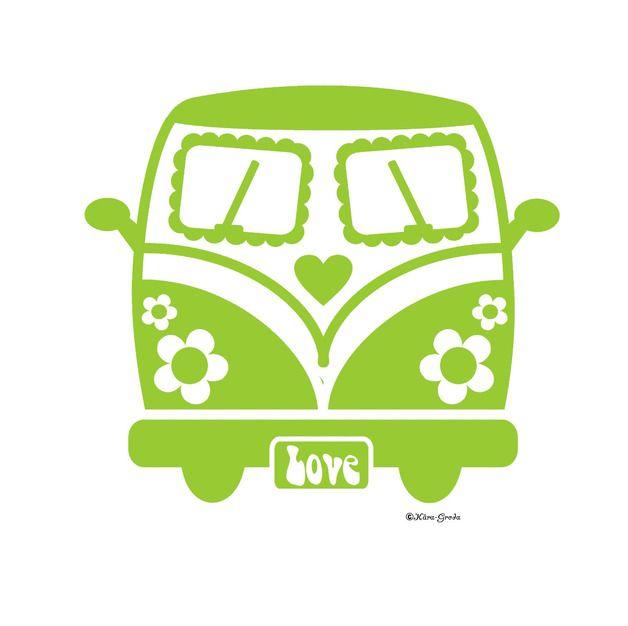 Bügelbilder - Flower Power Bus Velour Bügelbild mit Farbwahl 223 - ein Designerstück von Kaeragroda bei DaWanda