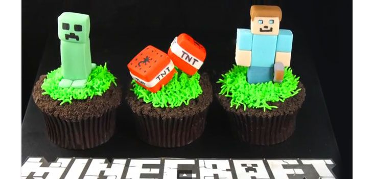 Learn how to make these adorable minecraft figurines - Minecraft Cupcake Ideas - Click for Video Tutorial