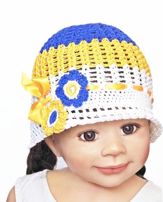 Flower Sun Hat Toddler HatCrochet Flower Hat Cloche Blue