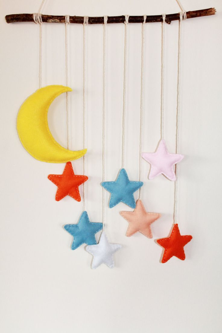 Cute stars and moon mobile. Stars, moon wall hanging. by TinyHappyBee on Etsy