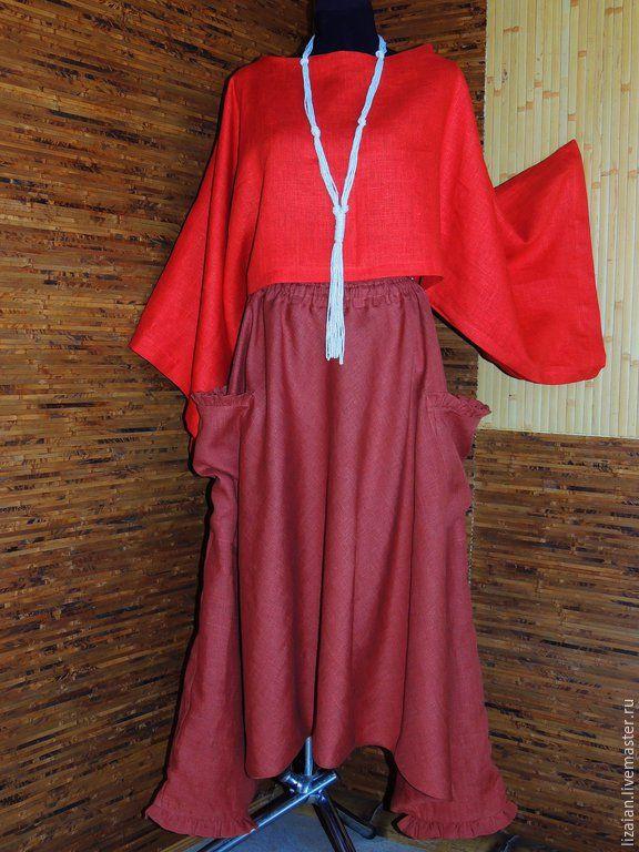 Купить Комплект льняной в стиле БОХО - разноцветный, большие размеры, брюки широкие, юбка макси