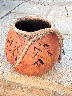 Organically grown gourd with wood burned design by MainAttraction, $35.00