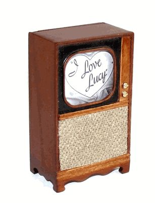 Miniature dollhouse TV modeled after the 1950's TV on the I Love Lucy show, by Bespaq. Walnut finish. - $27.99