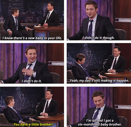 """Jeremy Renner as a brother, oldest of 6 :) """"I didn't do it though!"""" Lol"""
