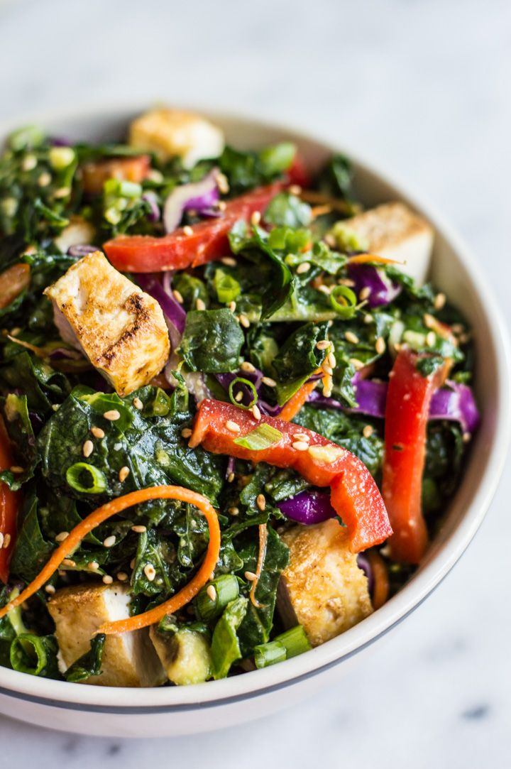Kale Salad with Fried Tofu and Miso Ginger Dressing - an easy vegan salad with asian flavors | healthynibblesandbits.com @healthynibs