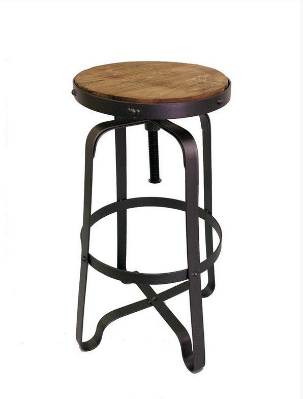 BAR STOOL ROUND TIMBER WOODEN TOP METAL STAND ANTIQUE DARK