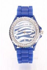 Royal Blue Rhinestone Trim Zebra Print Jelly Watch