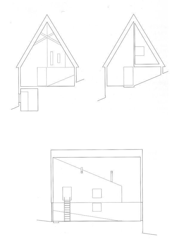 图8:廖科山地之家剖面(图片来源:《筱原一男 住宅图面》,东京,彰国社,2008)