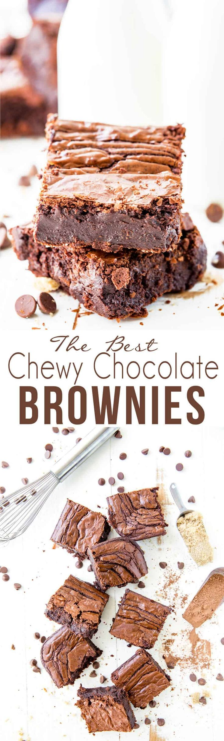The best chewy chocolate brownies, fudgy middle, crispy top!