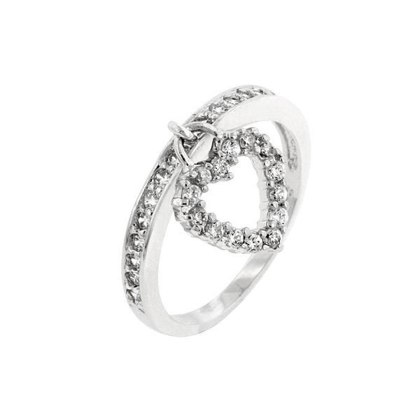 White Gold Rhodium Bonded Heart Charm Ring with Clear CZ Accents in Silvertone. Love Charm is truly stunning. This ring charm can be your sole reminder of that special someone in your life. White Gold Rhodium Bond is achieved using an electroplating process that coats the item with heavy layers of rhodium a close cousin of platinum that costs three times as much which gives our jewelry a platinum luster.