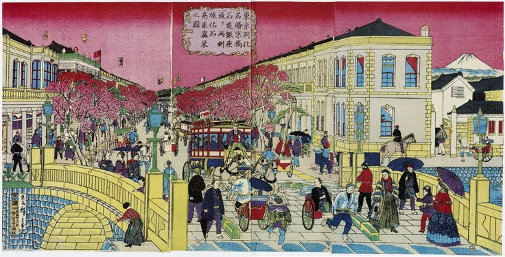 Utagawa Hiroshige III, Scenic View of Tokyo Enlightenment: Picture of Stone Construction at Kyōbashi and Prosperity of Brick and Stone Shops on Both Sides of Ginza Street (1874). Kanagawa Prefectural Museum of Cultural History, Yokohama.