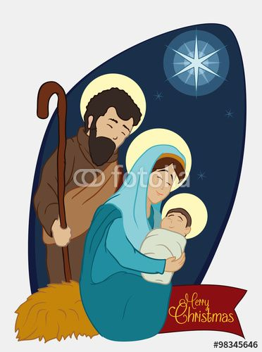 Christmas Nativity Scene with Holy Family under the Star Light, Vector Illustration
