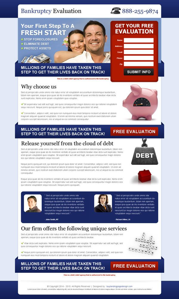 Top 20 debt landing page design for your debt relief business conversion | landing page designs