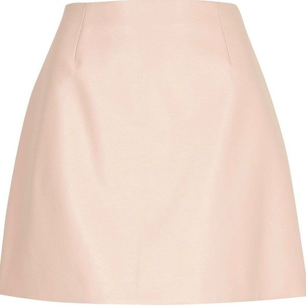 River Island Light pink faux leather skirt (311985 PYG) ❤ liked on Polyvore featuring skirts, mini skirts, bottoms, pink, women, a line skirt, a line mini skirt, short mini skirts, mini skirt and short skirts