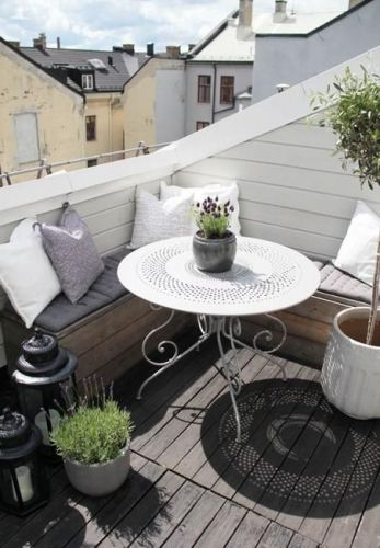 barbecue, décoration, petit balcon, table