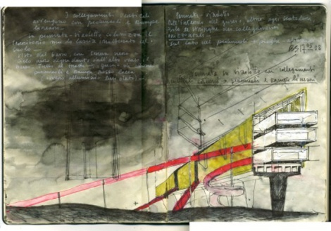 Beniamino Servino's amazing sketches, kind of utopian visions, vibrating with intense lines